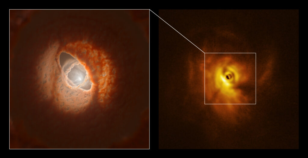 Deformed disk around the triple star system GW Orionis