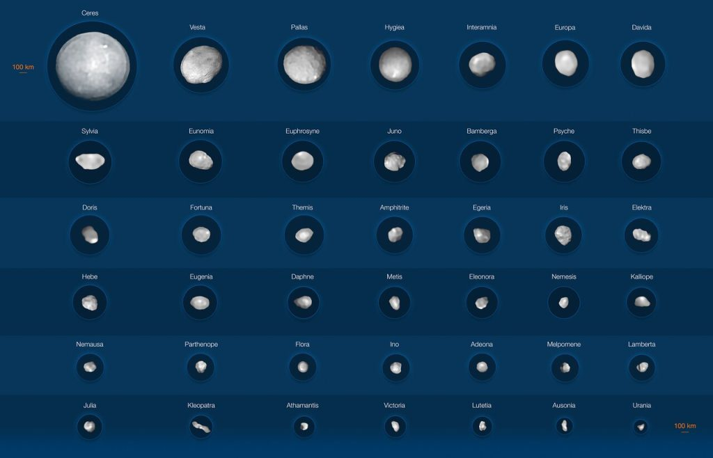 42 of the largest asteroids: from spheres to dog bones